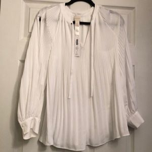 Chico's Cold Shoulder Pleated Blouse